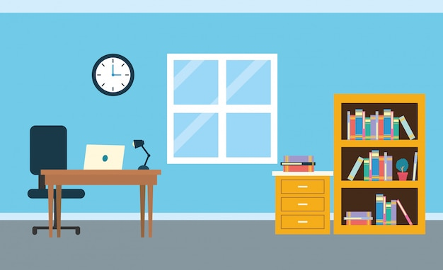 Office workplace background Free Vector