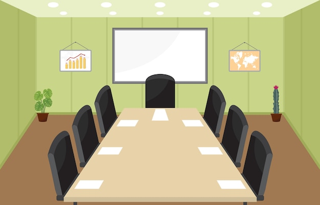 Office workplace conference meeting room business flat Premium Vector