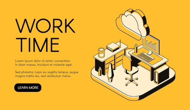 Office workplace illustration of black thin line art on yellow halftone background. Free Vector