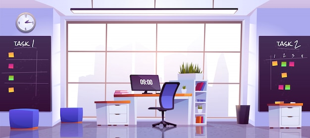 Office workplace interior with computer table Free Vector