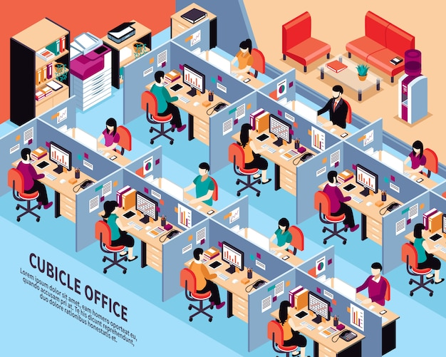 Office workplace isometric vector illustration Free Vector