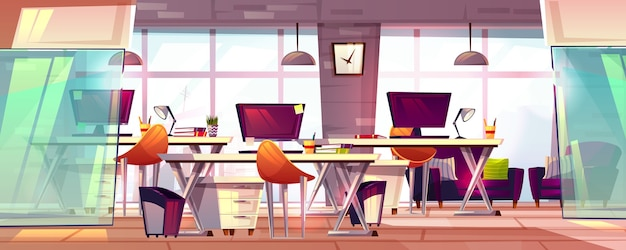 Office workspace illustration or coworking business open workplace interior. Free Vector