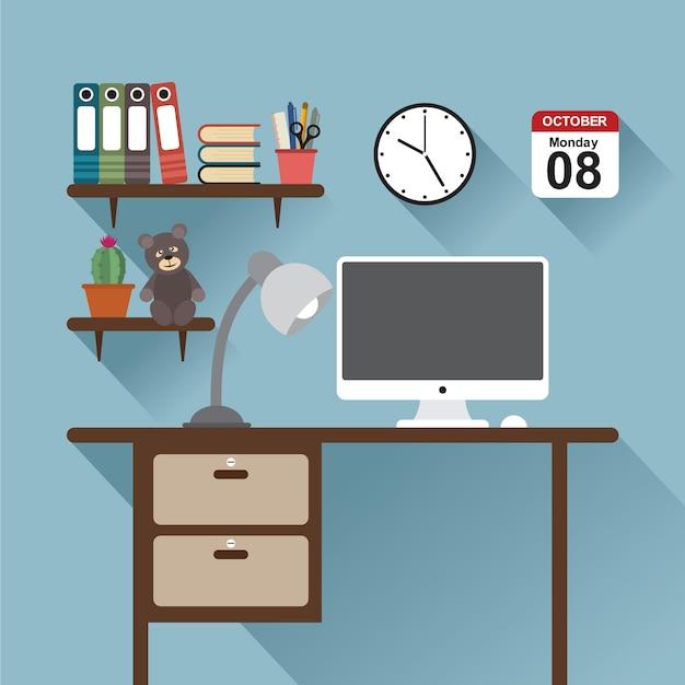 Office workspace Premium Vector