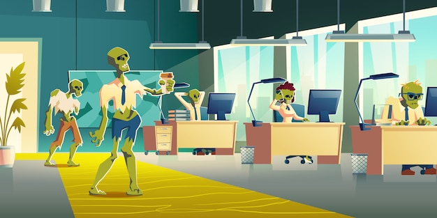 Office zombies at work cartoon vector illustration Free Vector