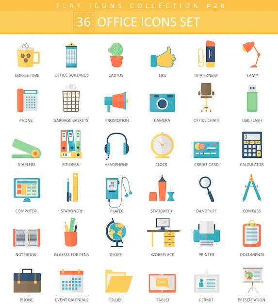 Вектор office цвет плоский значок набор. элегантный стиль дизайна. Premium векторы