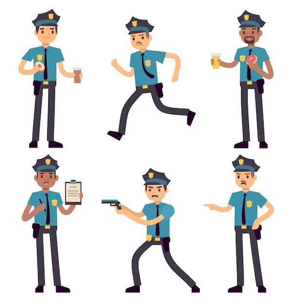 Officer policeman vector cartoon characters isolated. patrol cops for police concept. police officer person, character security in uniform and cap illustration Premium Vector