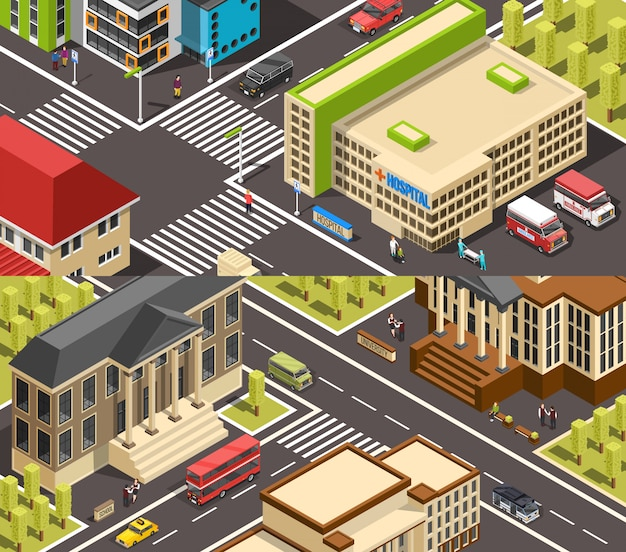 Official buildings isometric banners Free Vector