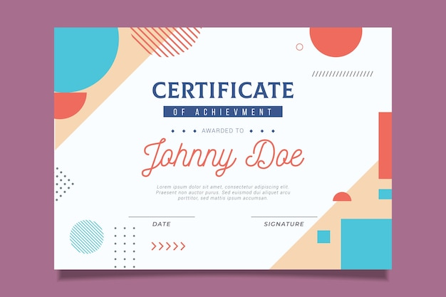 Official certificate design with colourful shapes Free Vector