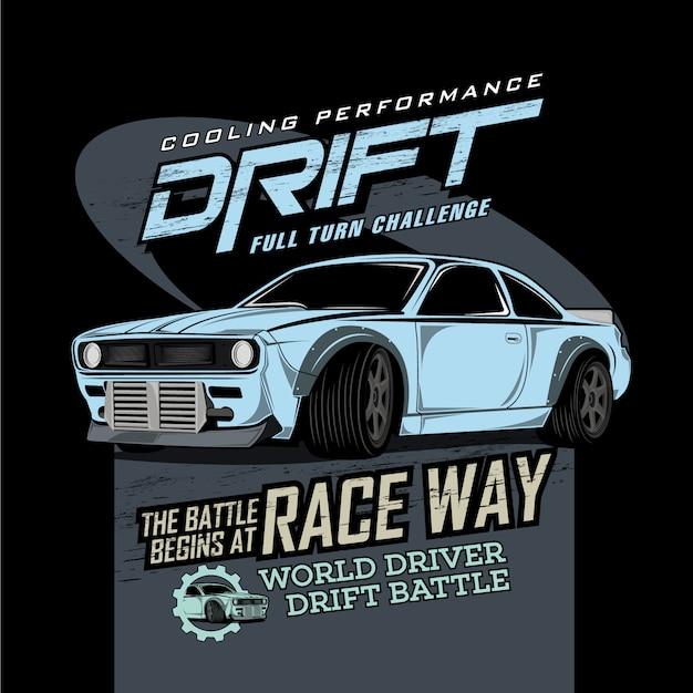 Official drift garage, vector car illustrations Premium Vector