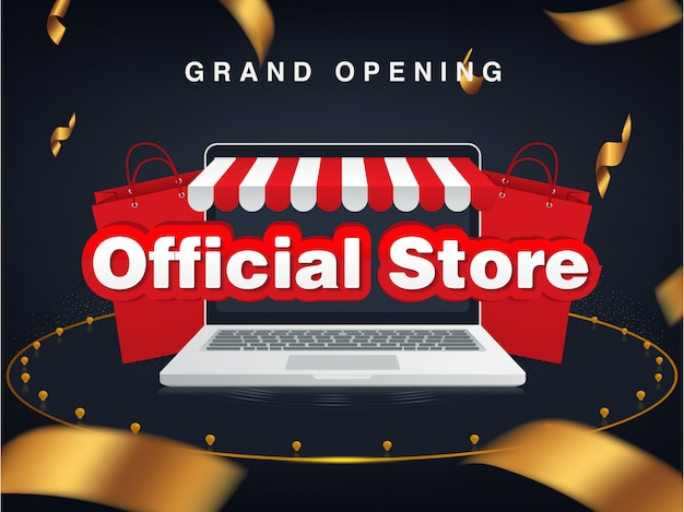 Official store online shop, grand opening. sale background Premium Vector