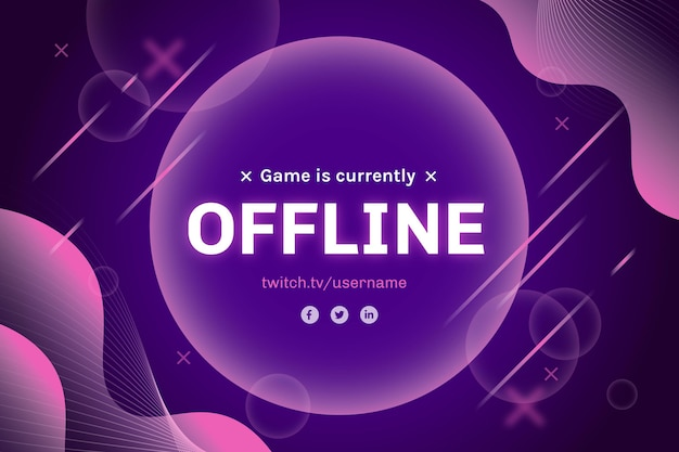 Offline twitch abstract banner Free Vector