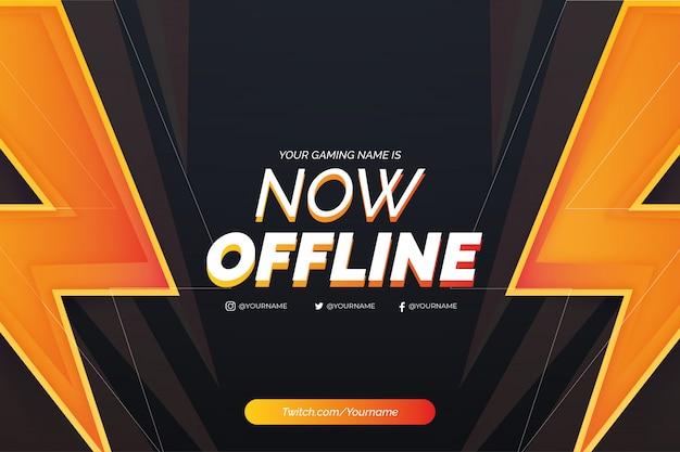 Offline twitch background background with realistic lightning template Free Vector