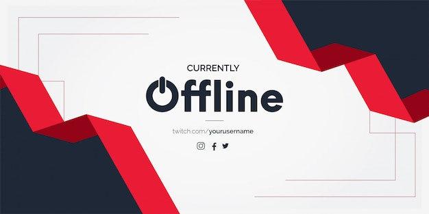 Offline twitch banner background with ribbon shapes Free Vector