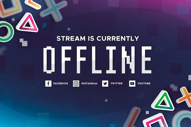 Offline twitch banner in gammer style Free Vector