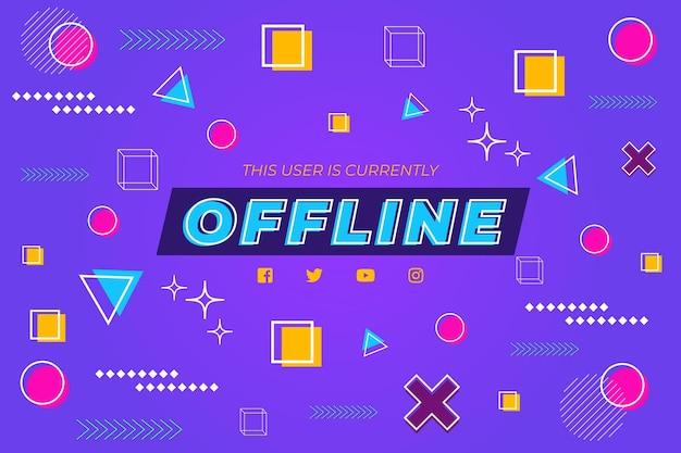 Offline twitch banner memphis design Premium Vector