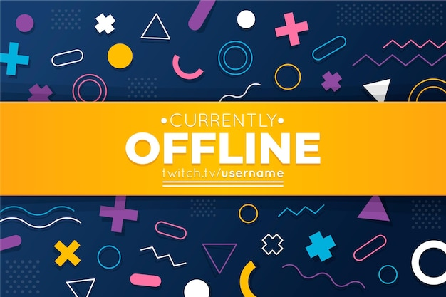 Offline twitch banner memphis style Free Vector