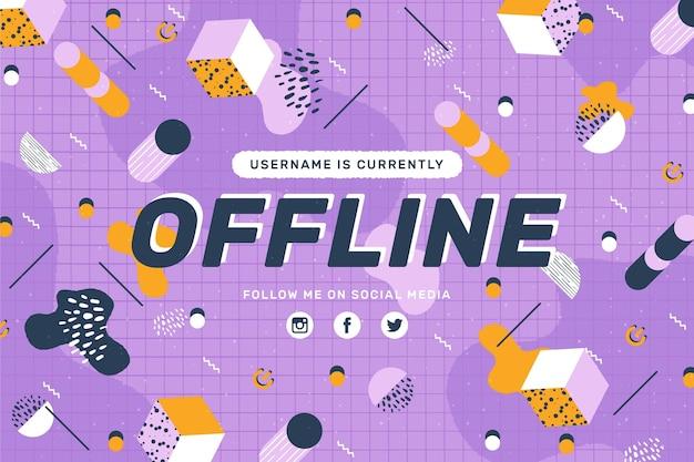 Banner twitch offline in stile memphis Vettore gratuito