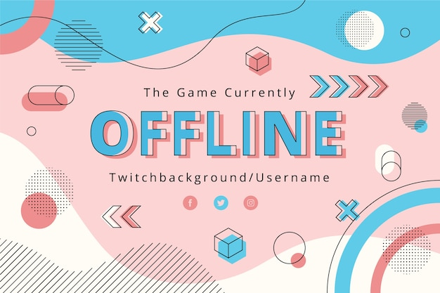 Offline twitch banner in memphis style Free Vector