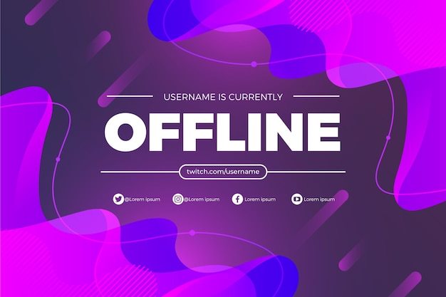 Offline twitch banner template Free Vector