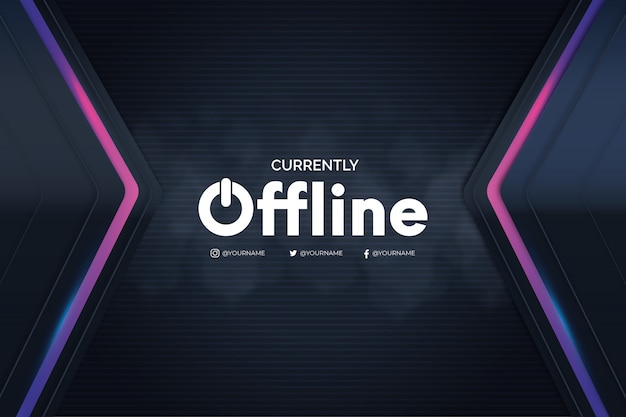 Offline twitch banner with 3d background Free Vector