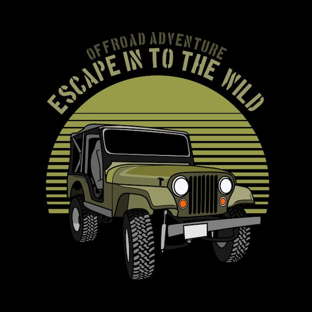 Offroad adventure car graphic illustration Premium Vector