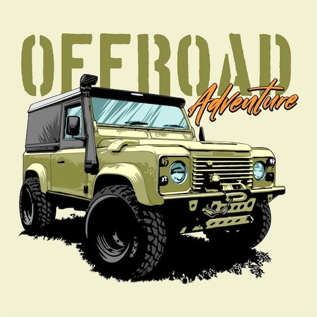 Offroad adventure car graphic illustration Premium Vector
