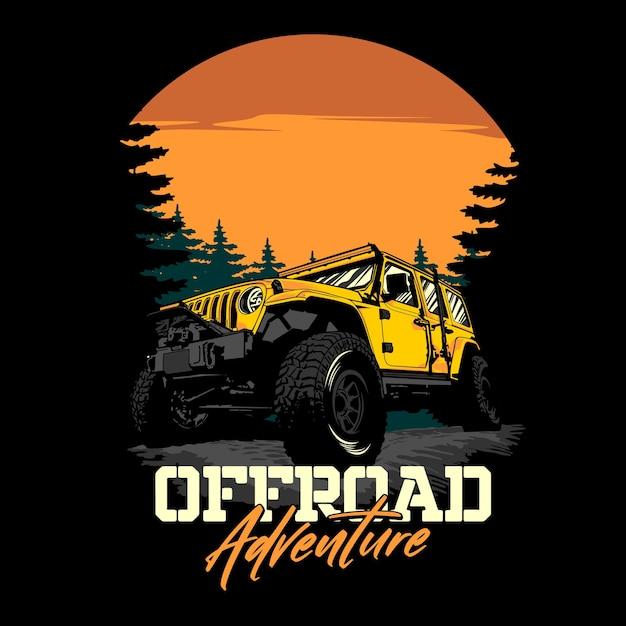 Offroad adventure graphic illustration Premium Vector
