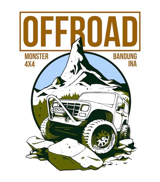 Offroad car design on illustration Premium Vector