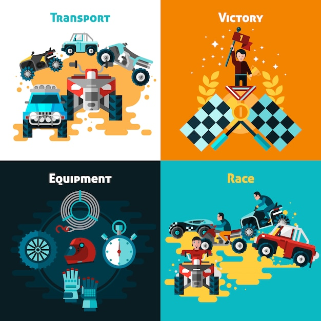 Offroad concept icons set Free Vector