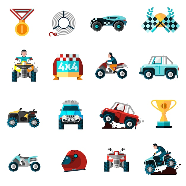Offroad icons set Free Vector