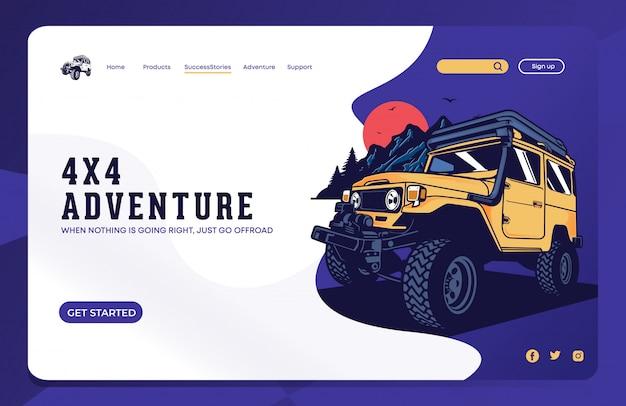 Offroad landing page Premium Vector