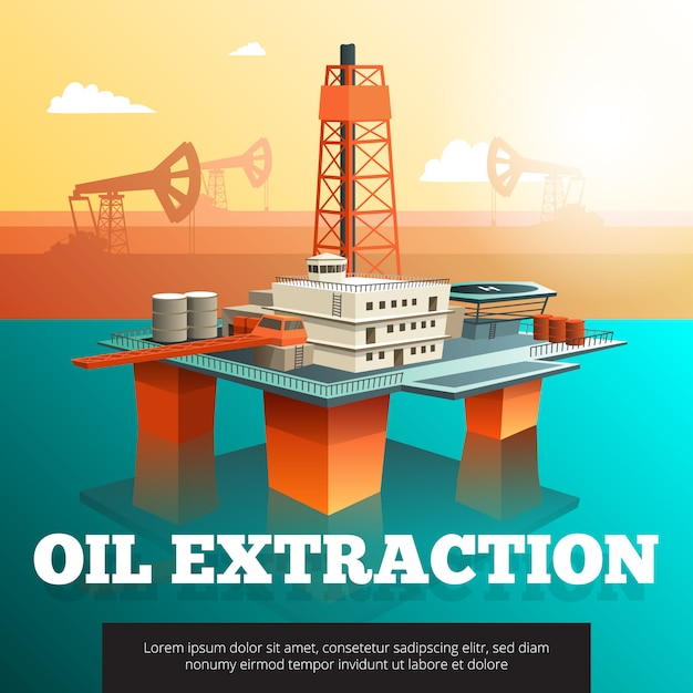 Offshore platform oil rig to drill wells extract and process