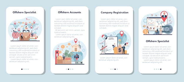 Offshore specialist or company mobile application banner set. Premium Vector
