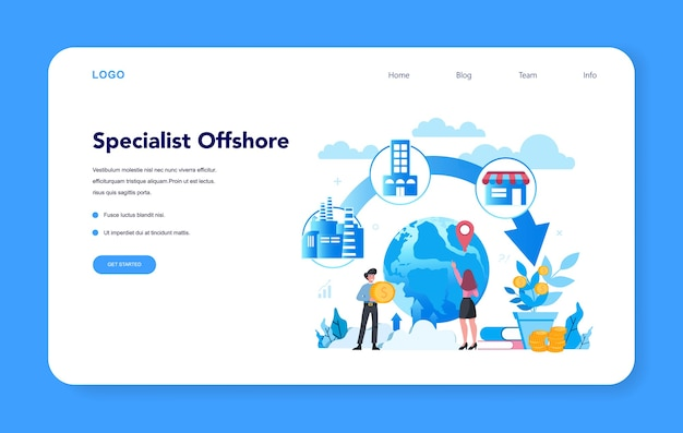 Offshore specialist or company web banner or landing page Premium Vector
