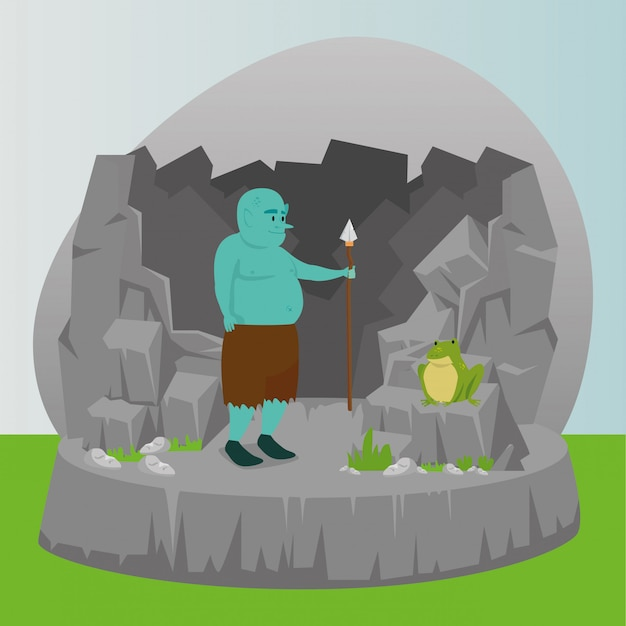 Ogre with spear in scene fairytale Free Vector