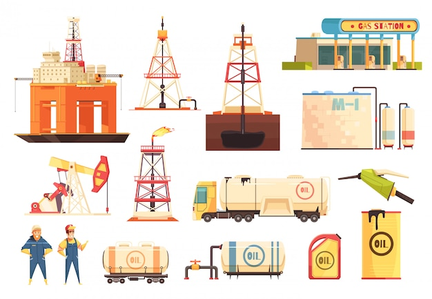 Oii production industry icons set Free Vector