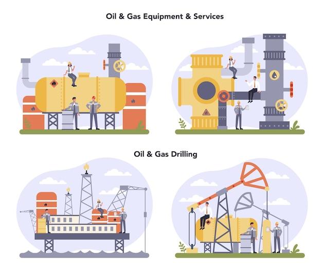 石油・ガス業界のコンセプトセット。燃料工場、ディーゼル付きバレル。石油、ディーゼル燃料の産業探査。天然資源の探査のためのmoddernテクノロジー。 Premiumベクター