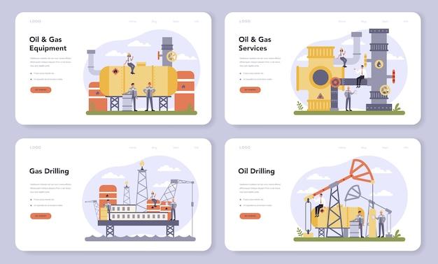石油およびガス業界のwebバナーまたはランディングページセット。燃料工場、ディーゼル付きバレル。石油、ディーゼル燃料の産業探査。探査のための最新技術。 Premiumベクター
