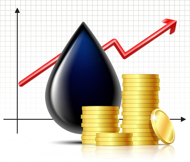 オイルバレルの価格が上昇し、ゴールドコインのスタックでオイルがブラックドロップします。石油インフォグラフィック、価格上昇の概念。石油市場のトレンド。 。 Premiumベクター