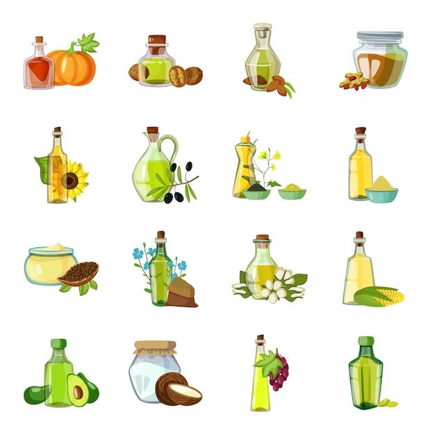 Oil cartoon element. oil bottle vector illustration. Premium Vector