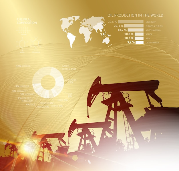 Oil derrick infographic with stages of process oil production Free Vector