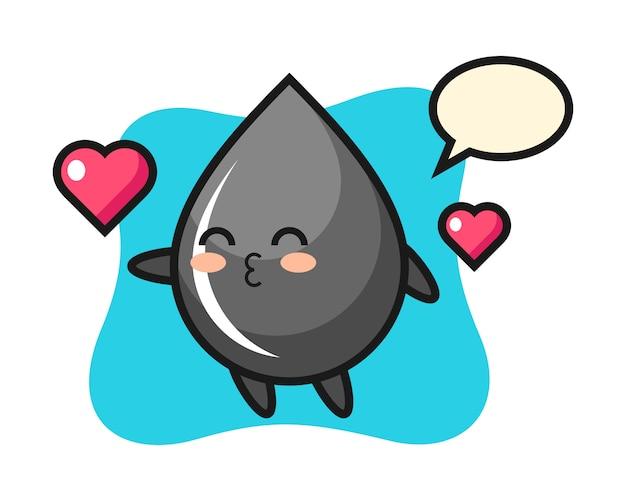 Oil drop character cartoon with kissing gesture Premium Vector