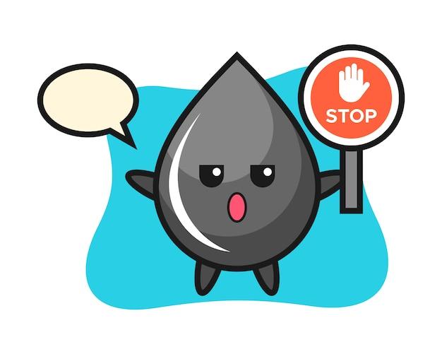 Иллюстрация символа капли масла со знаком остановки Premium векторы