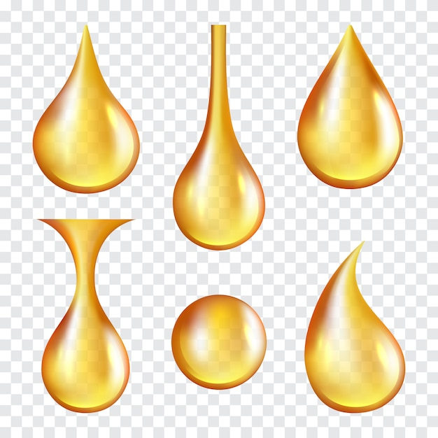 Oil drops. yellow transparent splashes of machine or cosmetic golden oil vector realistic template Premium Vector