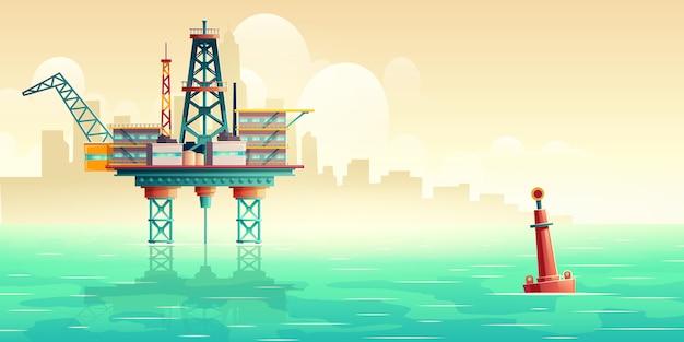 Oil extraction platform in sea cartoon illustration Free Vector