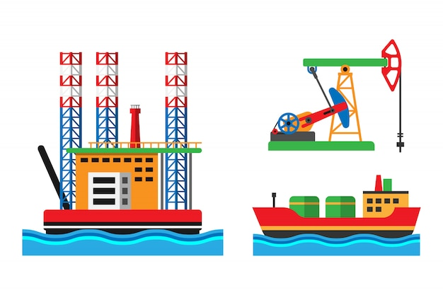 Oil extraction platform vector illustration Premium Vector