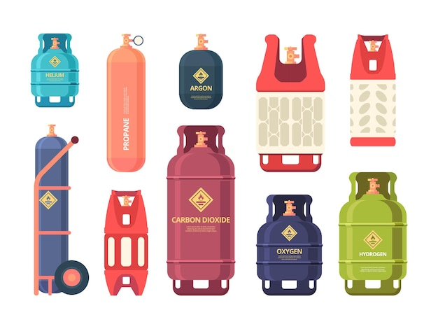 Oil gas cylinder. industrial steel bottles for liquid compressed gas or air. Premium Vector