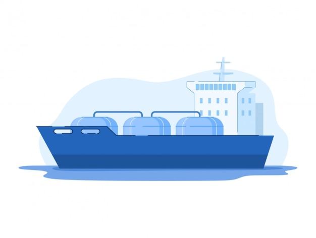 Иллюстрация нефтегазовой промышленности, мультфильм танкер спг со сжатым газом, проходящий к буровой платформе на белом фоне Premium векторы