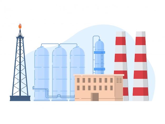石油ガス業界のイラスト、白のガソリンアイコンの処理の建物と漫画の都市工場の植物風景 Premiumベクター
