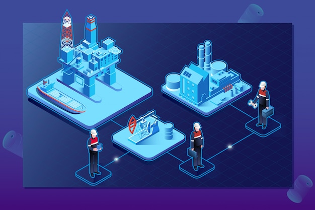 Oil gas industry isometric flowchart with offshore platform Premium Vector